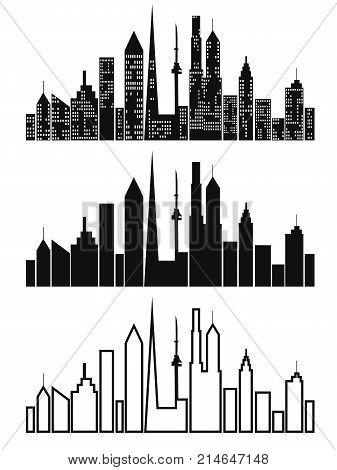 isolated black cityscape icons set on white background