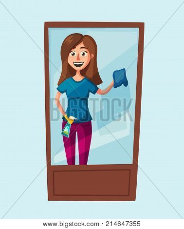 Housewife cleaning windows. Cartoon illustration. Clean service. Window washer is cleaning high building. Man with bucket of water and scraper.