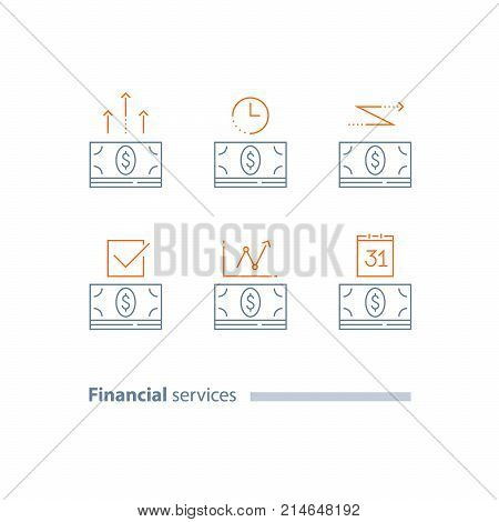 Installment payment, calendar payment day, time period, money bundle, dollar currency sign, financial transfer, loan approval, annual dividends, accounting services, vector line icon set, thin stroke