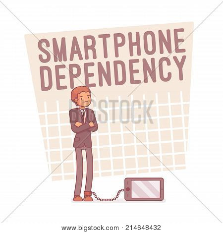 Smartphone dependency. Young man with mobile phone overuse syndrome and addiction, sleep disorder, anxiety sense of compulsion or obsession. Vector line art business illustration