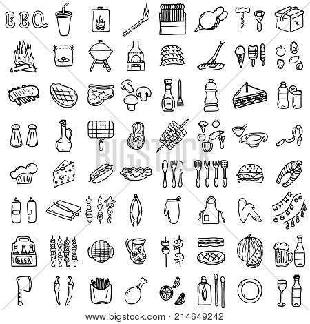 BBQ icons set, hand-made style, vector illustration