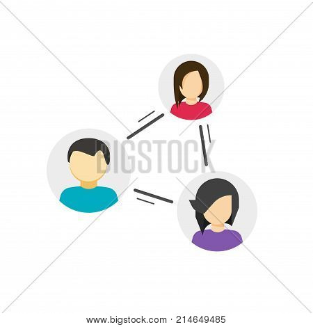 Collaborate or share links between community vector icon, concept of peer or link between social people, persons relation circle, group communication or connection, collaboration network, relationship