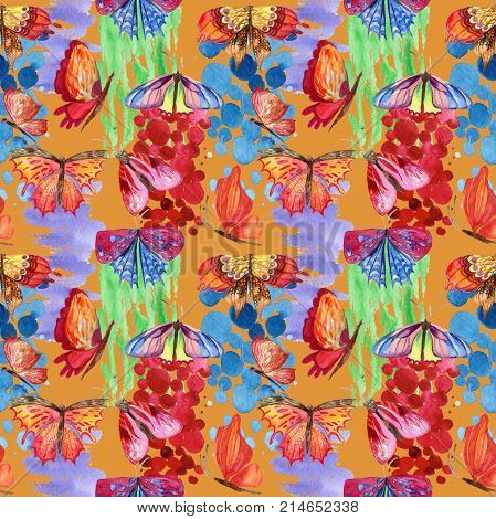Exotic  butterfly wild insect pattern in a watercolor style. Full name of the insect:  butterfly. Aquarelle wild insect for background, texture, wrapper pattern or tattoo. poster