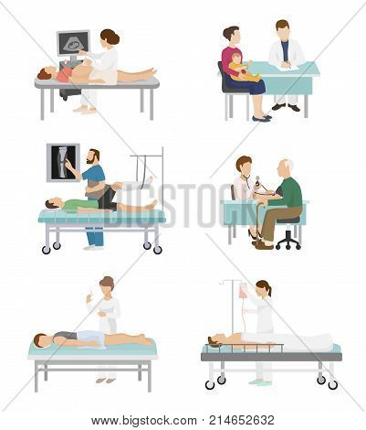 Doctor and patient vector medical healthcare hospital medicine nurse doctoral office in hospital visit in-patient people health care concept illustration.