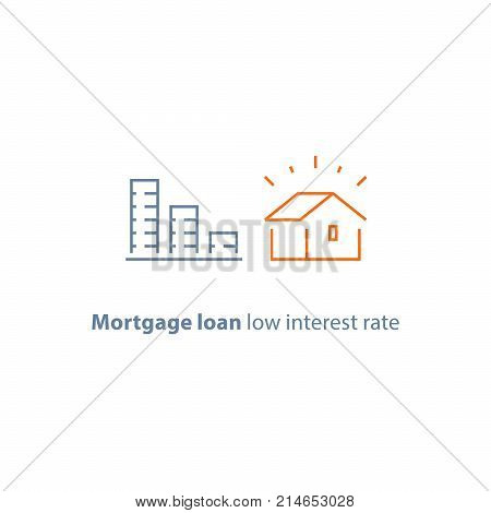 Mortgage loan, down payment, low interest rate, descending coin stack, home buying budget, vector line icon, thin stroke