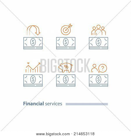 Money bundle, cash loan outline logo, investment return, refund, dividends increase, wages payment, finance analytics, pension savings account, corporate expense, vector line icon set, thin stroke