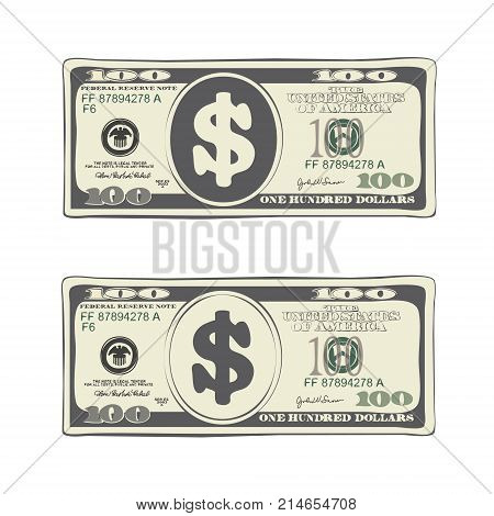 100 dollars in flat cartoon style. Vector design of one hundred dollar bill. Suitable for discount cards leaflet coupon flyer vouchers and other advertising. Simulate hand-drawn illustration.