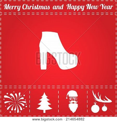Shoe Icon Vector. And bonus symbol for New Year - Santa Claus, Christmas Tree, Firework, Balls on deer antlers
