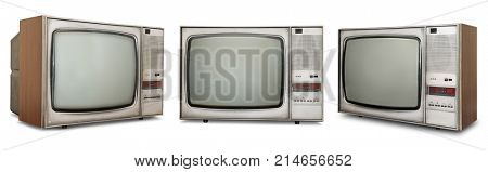Set of old TVs isolated on white background.