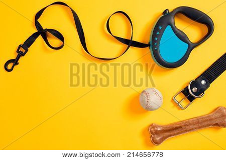 Black leather dog collar, bone, ball and blue leash attached on yellow background. Top view. Still life. Copy space. Flat lay