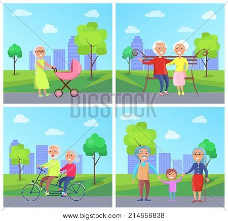 Set of vector illustrations with grandparents and kids in city park on background of skyscrapers. grandma pushing pram with newborn child, riding bike