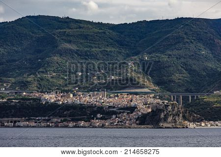 Small City on Coast of Italy in Messina Strait