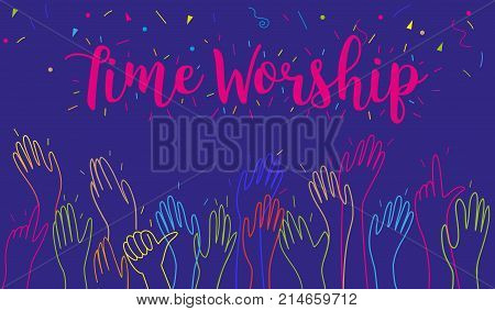 Hands clapping raised up applause greeting congratulation worship and praise holiday