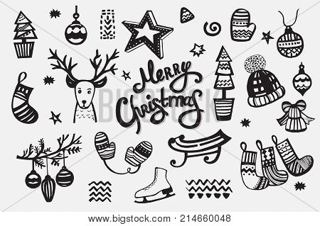 Merry Christmas collection of handdrawn vector elements: christmas ball, reindeer, christmas tree, sled, skates, hat, bell, stars, mittens and others. Template with hand drawn xmas lettering.