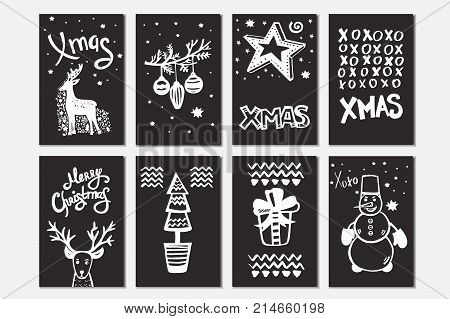 Merry Christmas collection of handdrawn vector cards with: christmas ball, reindeer, christmas tree, stars, gift, snowman and others. Template with hand drawn xmas lettering.