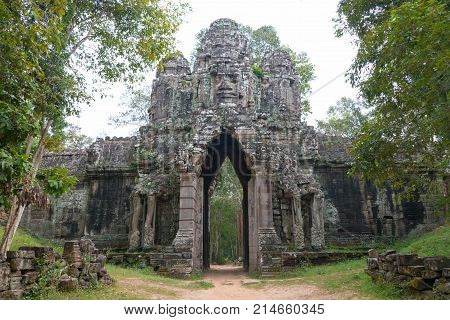 Siem Reap, Cambodia - Dec 13 2016: Gate Of The Dead In Angkor Thom. A Famous Historical Site(unesco
