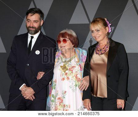 LOS ANGELES - NOV 11:  Mathieu Demy, Agnes Varda, Rosalie Varda at the AMPAS 9th Annual Governors Awards at Dolby Ballroom on November 11, 2017 in Los Angeles, CA