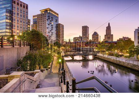 Providence, Rhode Island, USA park and skyline.