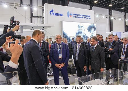 St. Petersburg, Russia - 3 October, A representative delegation at the forum, 3 October, 2017. Participants and visitors of the annual St. Petersburg Gas Forum.