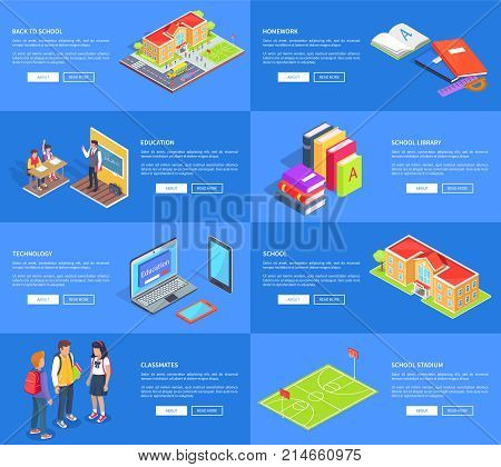 Set of school posters. Vector illustration of young students, supplies, educational institution, textbooks , various technology items and stadium