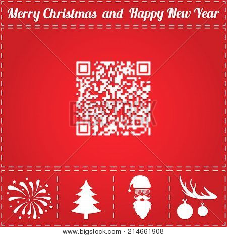QR Icon Vector. And bonus symbol for New Year - Santa Claus, Christmas Tree, Firework, Balls on deer antlers