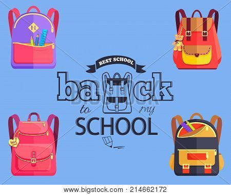 Back to my school black and white cartoon style sticker with inscription surrounded by bags. Vector illustration of backpack along with graphite pencil.