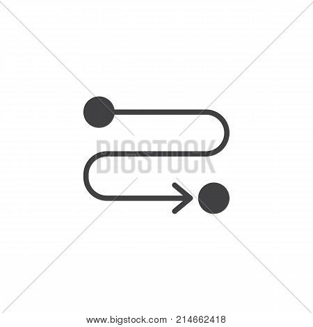 Route location icon vector, filled flat sign, solid pictogram isolated on white. Path or road symbol, logo illustration.