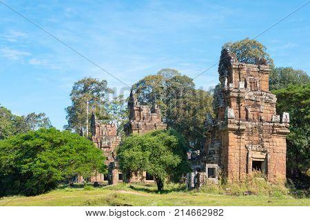 Siem Reap, Cambodia - Dec 08 2016: Prasat Suor Prat In Angkor Thom. A Famous Historical Site(unesco