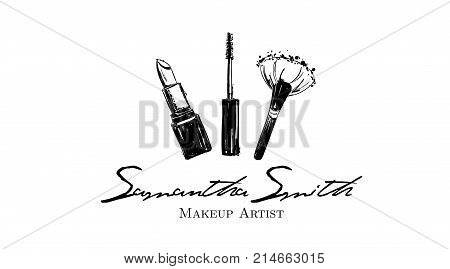 Makeup Artist Banner. Business Card And Logo Concept. Beauty Set For Make-up: Lipstick, Mascara Brus