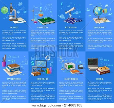 Biology and chemistry classes, astronomy and geography course, accurate maths, business economics, modern electronics and coding vector illustrations.