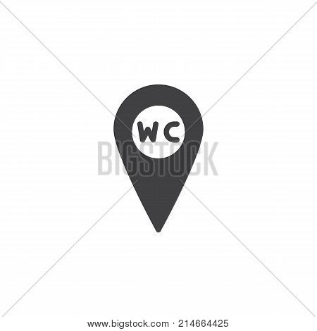WC Toilet location icon vector, filled flat sign, solid pictogram isolated on white. Restroom or lavatory map pointer symbol, logo illustration.