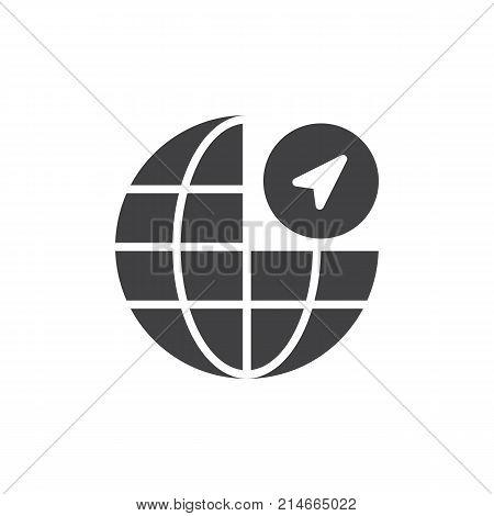 Globe navigation icon vector, filled flat sign, solid pictogram isolated on white. Symbol, logo illustration.