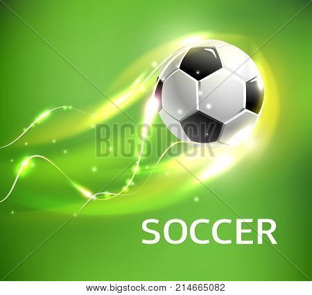 Flaming soccer ball 3d vector poster for football sport game. Ball flying with shining fire light trail, glowing flame, sparkles and bright swirling lines for soccer or football championship design