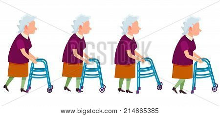 Set of grandmother characters moving on walkers vector colorful illustrations isolated on white. Aged woman impairment invalid, retired person
