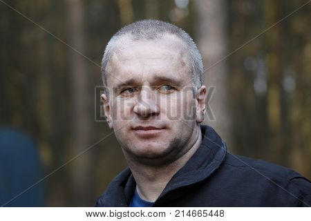 Belarus Gomel 04/06/2017 extinguishing forest fire.Belarus.Courageous face.Man working. Sweat on the face. Miner. The person after work.