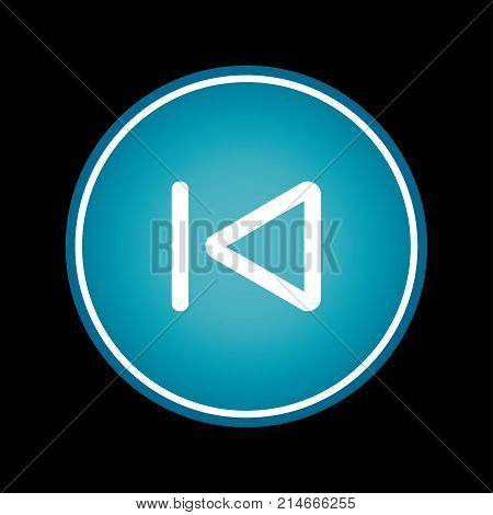 Skip to the start or previous file track chapter button blue vector icon symbol. Black background