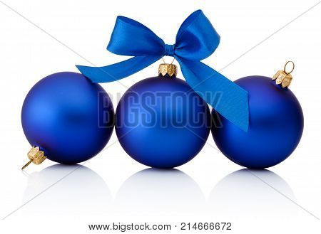 Three blue christmas baubles Isolated on white background
