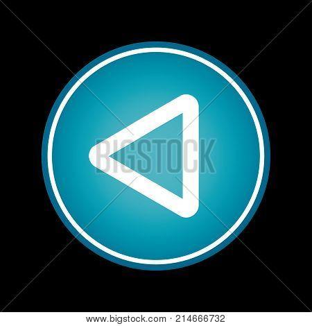 Reverse button blue vector icon symbol. Black background
