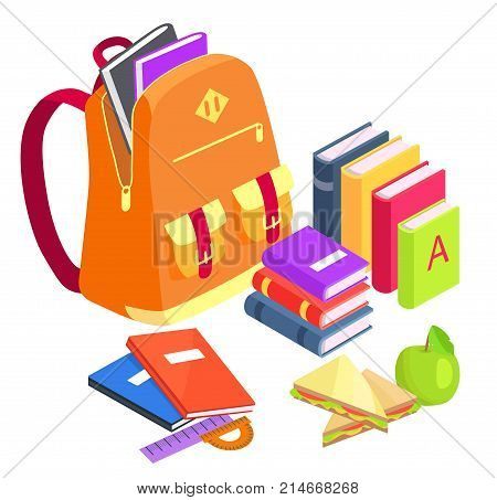 Collection of school-related objects isolated on white. Vector illustration of orange rucksack, pile of textbooks, lunch meal and stationery items