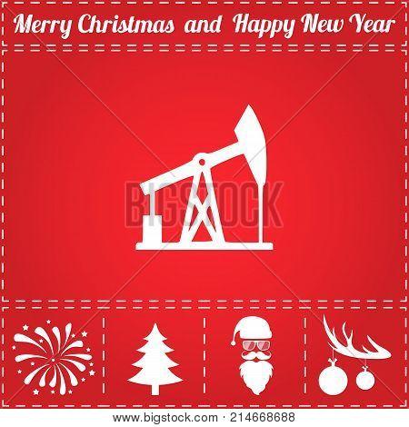Oil derrick Icon Vector. And bonus symbol for New Year - Santa Claus, Christmas Tree, Firework, Balls on deer antlers
