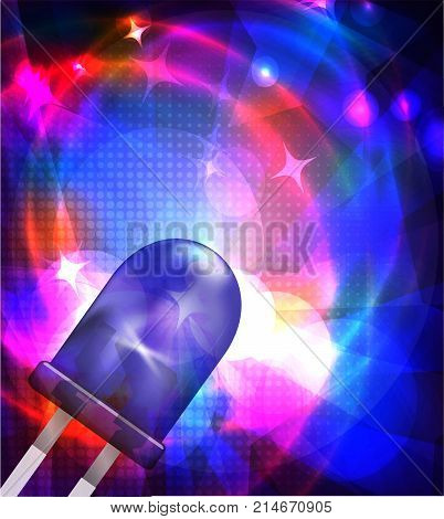 Designed with blue LED and rays. Colorful background for your design. Vector illustration.