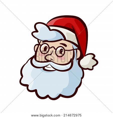 Portrait of happy cute Santa Claus in hat. Christmas, xmas symbol. Cartoon vector illustration isolated on white background