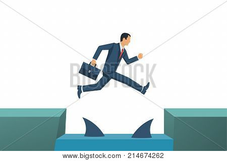 Business risk. Businessman jump through gap in rocks with floating predatory sharks. Way to success. Obstacle on road. Vector flat design. Isolated on white background. Success in business concept.