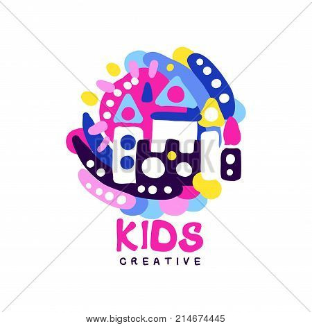 Kids creative logo design template, colorful labels for kids club, center, school, art studio, toys shop and any other childrens projects hand drawn vector illustration isolated on a white background