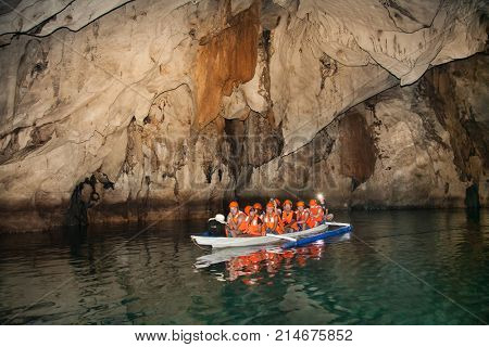 PALAWAN, PHILIPPINES-MARCH 27, 2016. Boats at cave of Puerto Princesa subterranean underground river on March 27, 2016. Palawan, Philippines.  It's one of the 7 New Wonders of Nature.