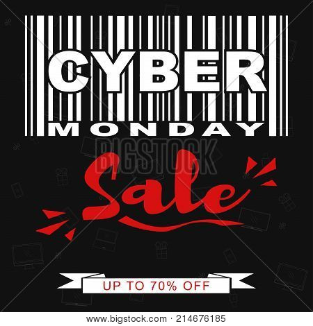 Cyber Monday Sale promotional banner template with stylized barcode. Vector illustration.