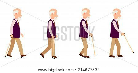 Aged person with cane long thin stick with curved handle that can be use to help walk. Man process of movement colorful vector illustration