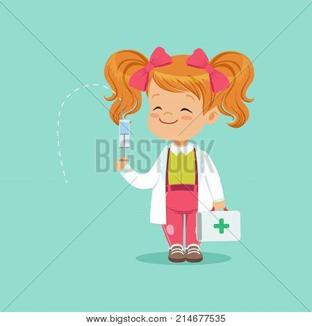 Cute red-haired baby girl standing with medical suitcase and syringe in hands. Cartoon child character in white coat and pink bows on her head playing doctor game. Isolated flat vector illustration.