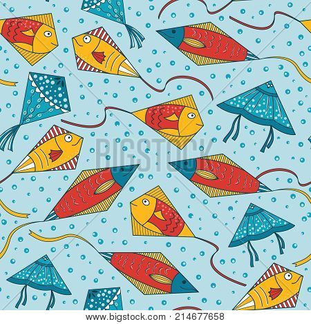 Kites in the form of beautiful ornamental fishes. Seamless pattern with kid toys in the sky. Underwater life wallpaper.