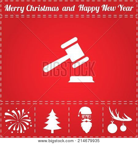 Law Icon Vector. And bonus symbol for New Year - Santa Claus, Christmas Tree, Firework, Balls on deer antlers